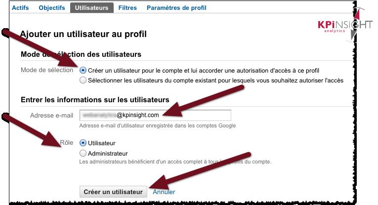 ajouter un nouvel utilisateur au profil google analytics et ajouter un nouvel administretur au profil google analytics